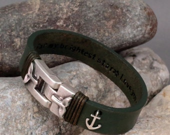 EXPRESS SHIPPING, Men's Personalized Bracelet, Custom Leather. Leather Name Bracelet, Mens Anchor bracelet, personalized bracelet