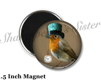 Steampunk Magnet - Fridge Magnet - Steampunk Bird - 1.5 Inch Magnet - Bird Magnet - Kitchen Magnet