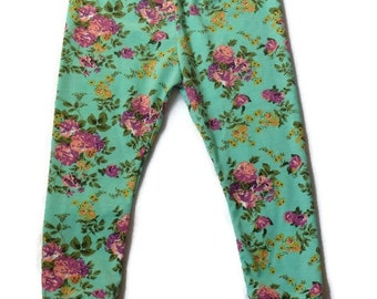 Mint roses cuff leggings//baby//girl//toddler//pants//spring