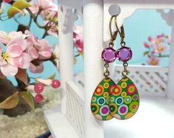 Polka Dot Earrings, Colorful Hippie Mod Jewelry, Long Dangle Crystal Earrings, Violet Rhinestones, Geometric Abstract Circle Earrings, E3906