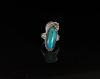 Sleeping Beauty Turquoise Ring Sterling Silver Handmade Size 7.25, R0478