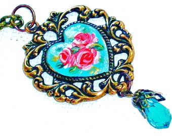 Filigree Heart Necklace Hand Painted Roses Vintage Style Romantic Jewelry