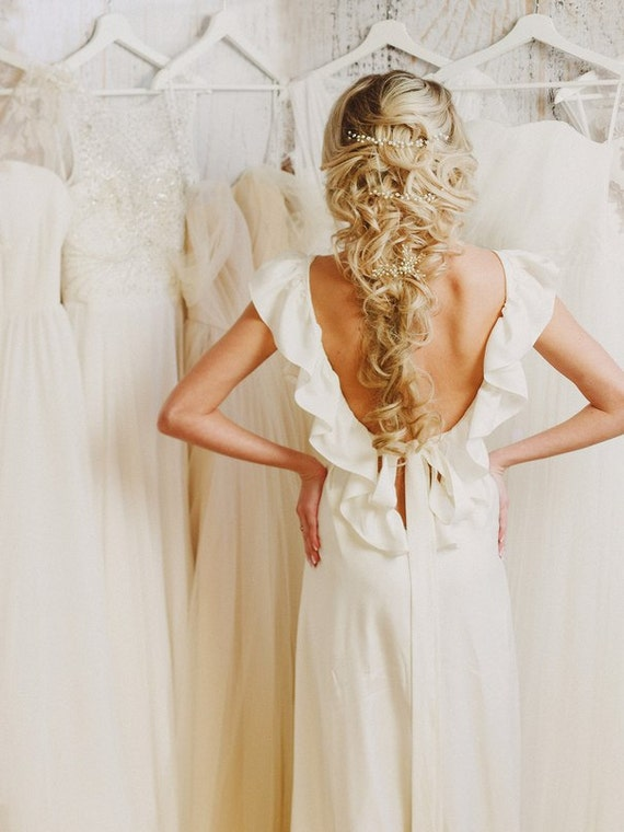 Amelie beach boho wedding dress with low open back of soft for Best etsy wedding dress shops