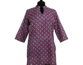 Long Kurta Top – All sizes – Style 1 - Plum red with sapphire blue - 100% lightweight cotton