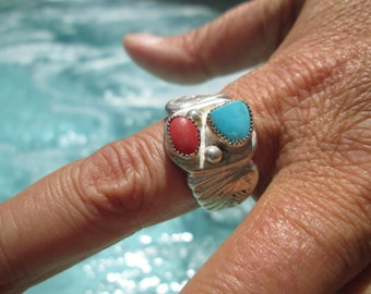 Turquoise, Coral and Sterling Man's Ring Size 13.5
