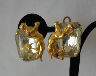 Vintage Gold Matte Cherub Clip Earrings***.