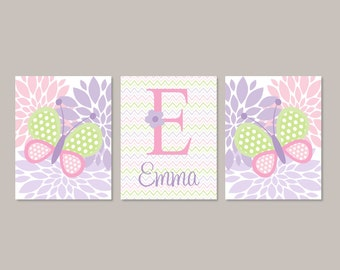 Butterfly Nursery Decor, Prints Or Canvas Wall Art, Girl Nursery Decor, Floral Nursery Art, Pink Nursery, Personalized Name, Set of 3