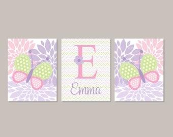Baby Girl Nursery Decor Pink Lavender Violet Lilac Nursery Decor BUTTERFLY Monogram Name Set of 3 Prints Or Canvas Flower Nursery Chevron