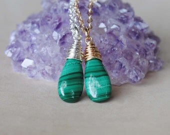Malachite Necklace, Malachite Jewelry, Sterling Silver or Gold Malachite Necklace