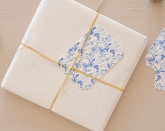 Set of 5 little cards / gift tags printed with a blue vegetal pattern, for wrappings and little words