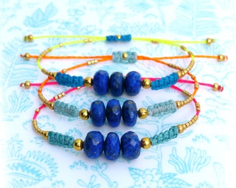 Boho chic friendship bracelet - Lapis lazuli, macrame and miyuki delicas seed beads - Cobalt blue neon pink yellow and orange -