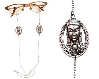 Buddha Eyeglasses Sunglasses Silver Chain Holder,Buddha pendant, Sunglasses Chain,Reading Glasses Chain,Eyewear,Buddha necklace,Gift