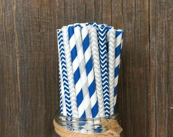Silver Straws, Navy Paper Straws, 100 Paper Straws, Chevron Straws, Birthday Party, Shower Party Supply, Wedding Straws, Free Shipping