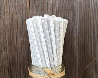 Silver Paper Straws, Polka Dot Straws, 100 Dot Straws, Birthday Party, Baby Shower, Wedding Supply,  Free Shipping
