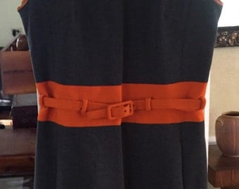 60s mini dress, grey and orange, wool, by Rae Phillips