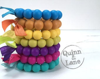 Silicone Teething Ring - Baby Toy - Silicone Beads - Teether Chewing Beads - Chew Jewelry Beads - Chew Toy Beads - Classic Round