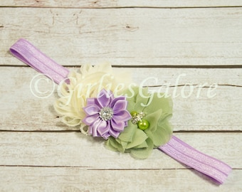 Baby headband, Lavender Sage baby girl headband, Sage Lilac Flower Girl Headband, Sage Green Headband, Newborn Headband