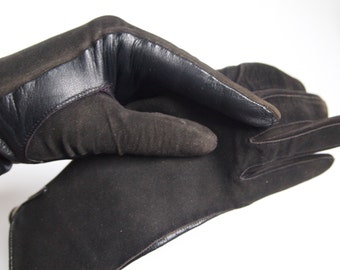 Vintage leather gloves - kid gloves - brown leather gloves - driving gloves - winter gloves - suede gloves - formal gloves - 50's - 60's