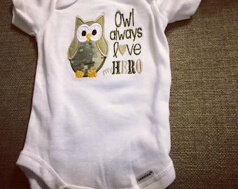 Owl always love my HERO. Onesie