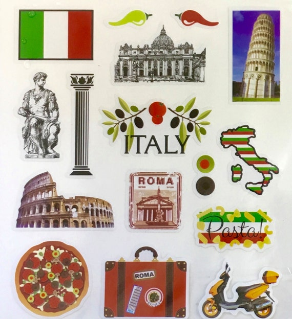italy vacation stickers planner invites envelope seals