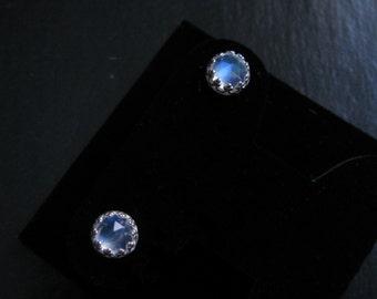 Rainbow moonstone earrings-AAA moonstone stud earrings-rose cut moonstone post earrings-natural gem studs-gift for her-moonstone in silver