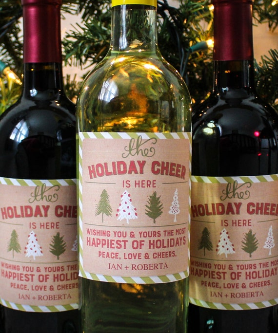 Holiday wine gift labels