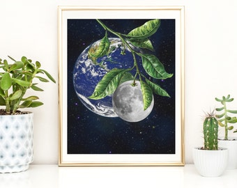 Moon and earth print - Universe art poster - Artisticsideoflife