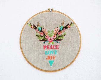 Christmas Embroidery Hoop, linen with multi colors, holiday gift, christmas words.