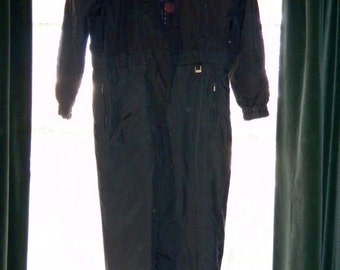 Winter Clearance! Vintage 90s FERA SKI SUIT 1-Piece Snowsuit Snowboard Jumpsuit Women Size 12 Black Looks New