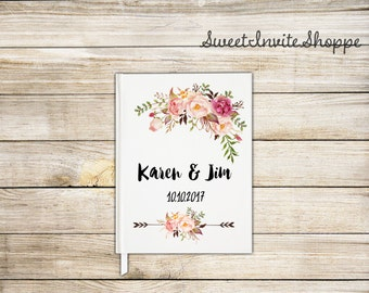 Rustic Wedding Guest Book, Custom Wedding Guest Book, Guestbook, Bridal Shower Guest Book, Gift For Couples, Floral Guest Book, Boho Book