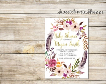 Floral Wreath Baby Shower Invitation, Boho Floral Baby Shower Invitation, Feathers Invitation, Tribal Invitation, Floral Baby Shower Invite