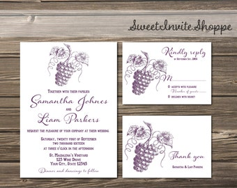 Vineyard Wedding Invitation, Winery Wedding Invitation Set, Wine Invitation, Vintage Grapes Printable Invitation, Winery Wine Wedding