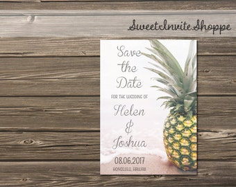 Pineapple Save The Date Card, Beach Tropical Save The Date Card, Beach Wedding Invitation, Destination Wedding, Pineapple Hawaii Wedding