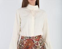 Elegant shirt for women, puffy sleeves shirt, vintage lace shirt, cream blouse, hign neck shirt for women