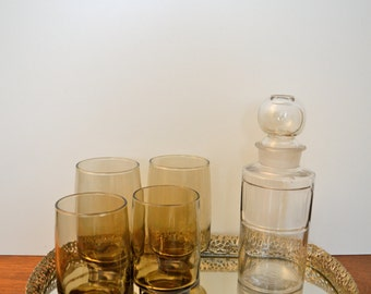 Retro Libbey Glass -- Tawny Accent set of 8 -- Cooler 16 oz -- 1974