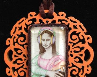 DJ Mona Lisa leather & wood necklace