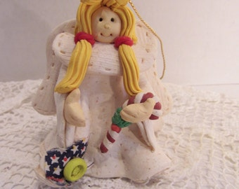 Vintage Christmas Angel Polymer Clay Christmas Tree Sewing Angel