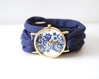 BLEU foncé lacet rond Wrap montre Bracelet Stretch Wrist Watch Fashion Accessoires femmes Teens poignet tatouage couvrir