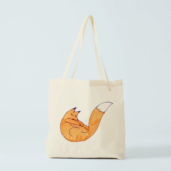 Tote Bag Fox, Canvas bag, cotton bag, groceries bag, eco friendly bag, laptop bag, novelty gift, gift for coworker, gift mother, birth gift.