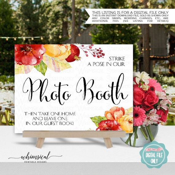 Photo Booth Sign Watercolor Bouquet Printable File Only
