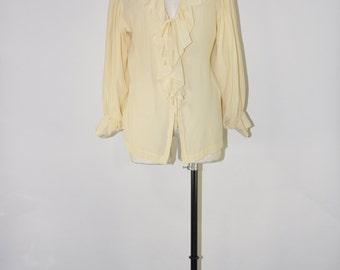 cream poet silk blouse / ruffle bohemian top / romantic silk blouse