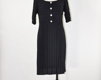 90s black rayon dress / 1990s button front dress / striped minimalist dress