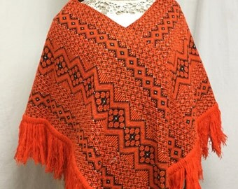 Poncho top, Ethnic poncho,Orange ,Black, Fringed poncho,Boho