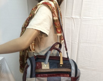 Duffle style shoulder bag, duffel bag,top handle bag, purse bag, leather, multi color, patchwork, free shipping