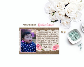 Fuchsia pink thank you card, photo thank you card, birthday thank you card, DIY printable thank you card, baby girl poem thank you card