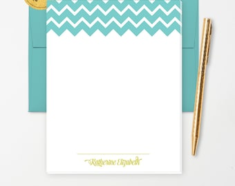 Personalized Note Pad // Blue and White Chevron with Color Name