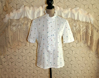 80s Puff Sleeve Blouse White Ruffled High Neck Embroidered Tulip Floral Short Sleeve Blouse 1980s Donnkenny Medium Large Womens Clothing