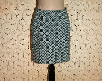 Women Cotton Mini Skirt XS Small Blue Green Print Casual Short Skirt Ann Taylor Size 2 Skirt Size 4 Skirt Womens Skirts Womens Clothing