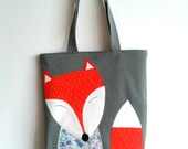 Tote bag with applique. Tote fabric bag with applique. Tote bag with fox applique. Bag with fox.