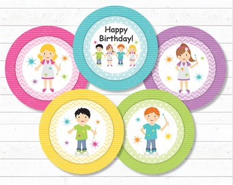 Painting Pottery Cupcake Toppers , Art stickers, Artist Toppers, Painting toppers, painting Birthday, Art party, Printable, INSTANT DOWNLOAD